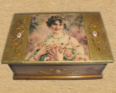 Lady and roses Romantic style jewelry box