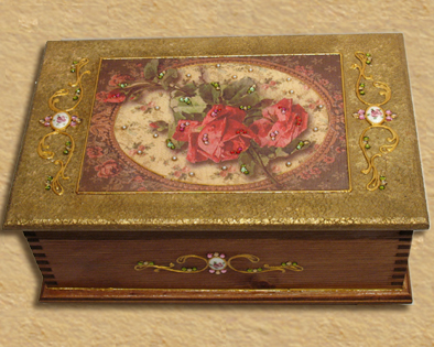 Shabby chic Roses - jewelry box R4