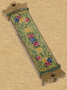 Mezuzah Roses on Green K