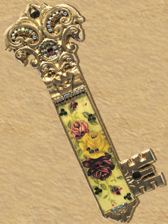 Key Mezuzah design Yellow roses F