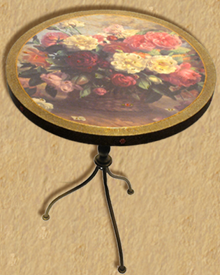 Roses basket & crystales - Decorative table H22